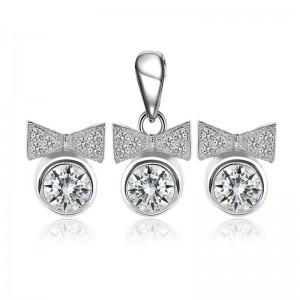 Bộ trang sức bạc Bow And Circle