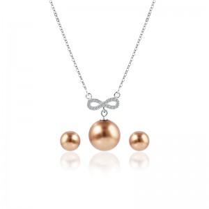 Bộ trang sức bạc Brown and White Pearl