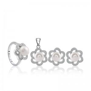 Bộ trang sức bạc ngọc trai Kim Flower