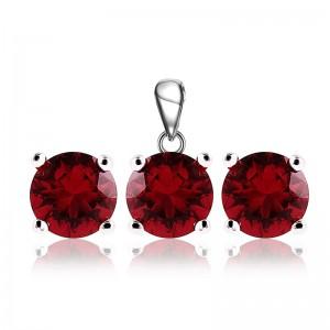 Bộ trang sức bạc Ruby Circle