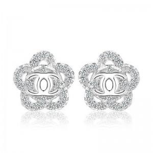 Bông tai bạc Chanel Flower
