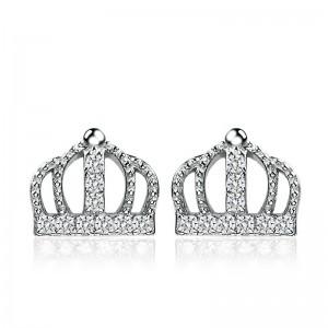 Bông tai bạc Crown For King