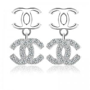 Bông tai bạc Double Chanel