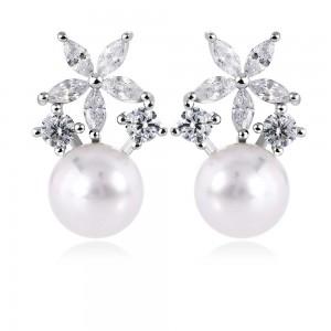 Bông tai bạc Pearl Flower