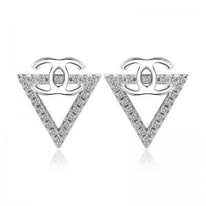 Bông tai bạc Pediment Chanel