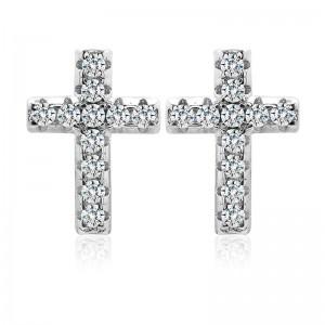 Bông tai bạc Shine Cross