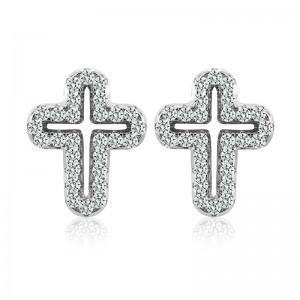 Bông tai bạc The Cross