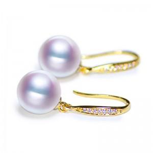 Bông tai vàng 18k ngọc trai biển Akoya đính kim cương 8-9.5mm Cady