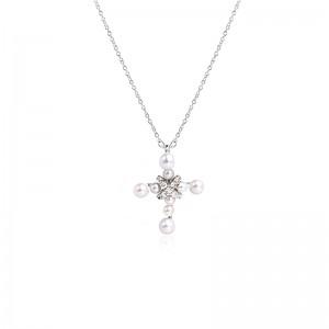 Dây chuyền bạc Pearl Cross