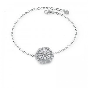 Lắc tay bạc Hexagon Flower