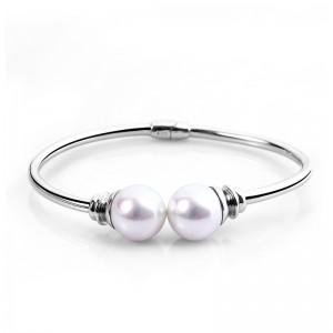 Lắc tay bạc White Pearls