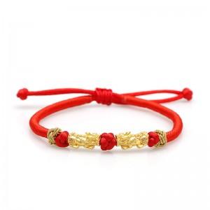 Lắc tay tỳ hưu vàng 24k chỉ đỏ Rosi
