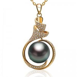 Mặt dây chuyền vàng 18k ngọc trai biển Tahiti kim cương 11-12mm