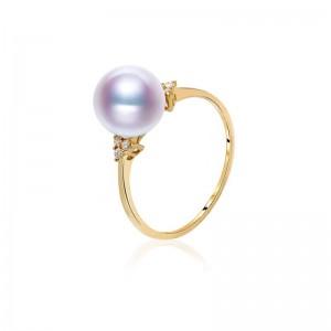 Nhẫn vàng 18k ngọc trai Akoya biển kim cương 8.5-9mm