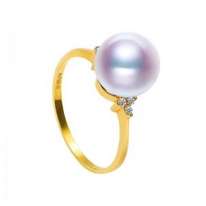 Nhẫn vàng 18k ngọc trai biển Akoya 7.5-9.5mm Orchid Cactus