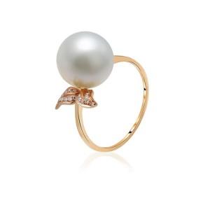 Nhẫn vàng 18k ngọc trai đính kim cương Holy