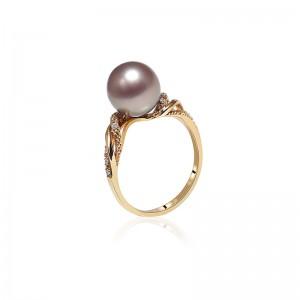 Nhẫn vàng 18k ngọc trai thật Royale 9-10mm đính Kim cương