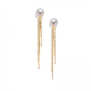 Bông tai vàng 18K ngọc trai Akoya 6-7.5mm Yuno