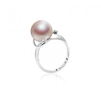 Nhẫn vàng trắng 18k ngọc trai thật đính Kim cương Rounie Pearl