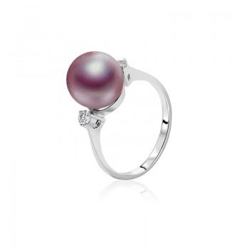 Nhẫn vàng trắng 18k ngọc trai thật đính kim cương Faerie Pearl