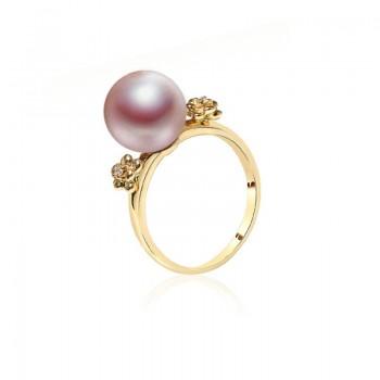 Nhẫn vàng 18k ngọc trai thật Pipie 10-11mm đính Kim cương