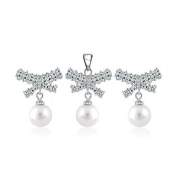 Bộ trang sức bạc Beauty Bow Pearl
