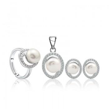 Bộ trang sức bạc ngọc trai Eudora Love