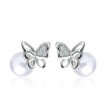 Bông tai bạc Pearl Butterfly