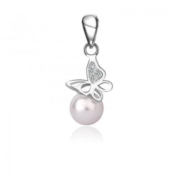 Mặt dây chuyền bạc Pearl Butterfly