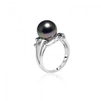 Nhẫn vàng 18k ngọc trai Tahiti Black 8-9mm đính Kim cương