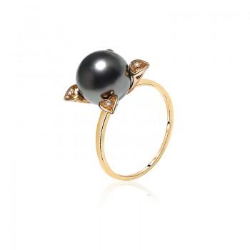 Nhẫn vàng 18k ngọc trai Tahiti Forle 8-9mm đính Kim cương