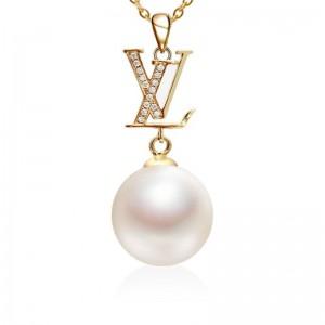 Mặt dây chuyền vàng trắng 18k ngọc trai thật 9-10mm đính kim cương Anni