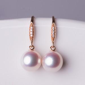 Bông tai vàng 18k đính kim cương ngọc trai Akoya 7,5-9mm Pinker