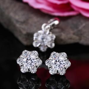 Bộ trang sức bạc Flower And Stone