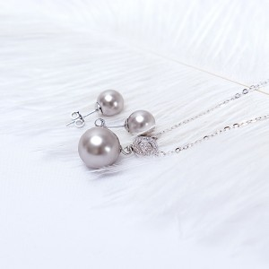 Bộ trang sức bạc Grey Pearl