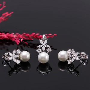 Bộ trang sức bạc ngọc trai Flower