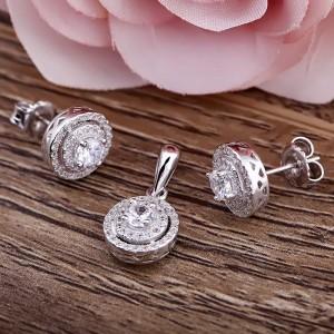 Bộ trang sức bạc Satin Circle