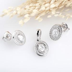 Bộ trang sức bạc Tem Oval
