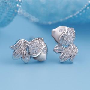 Bông tai bạc Baby Fish