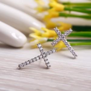 Bông tai bạc Christian Cross