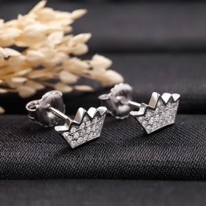 Bông tai bạc Little Crown