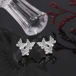Bông tai bạc Three Butterfly