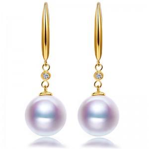 Bông tai vàng 18k đính kim cương và ngọc trai biển Akoya 7,5-9,5mm Ogranele