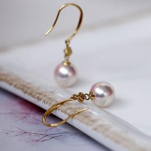 Bông tai vàng 18k ngọc trai Akoya đính kim cương Rei