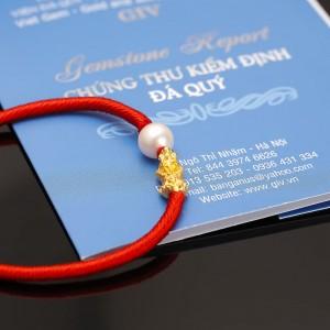 Lắc tay tỳ hưu vàng 24k chỉ đỏ ngọc trai thật Pi 8-9mm