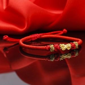 Lắc tay tỳ hưu vàng 24k chỉ đỏ Pisi