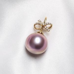 Mặt dây chuyền vàng 18k ngọc trai thật 10-11mm Mie đính kim cương