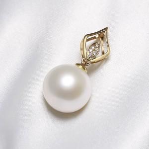 Mặt dây chuyền vàng 18k ngọc trai thật đính kim cương Koji 11.5-12mm