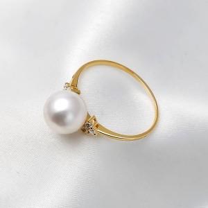 Nhẫn vàng 18k ngọc trai Akoya 5-9mm đính Kim cương