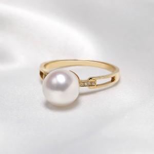 Nhẫn vàng 18k ngọc trai Akoya đính Kim cương Tie 8.5-9mm